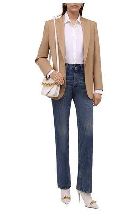 Женские кожаные ботильоны TOM FORD белого цвета, арт. W2993T-LSP002 | Фото 2 (Материал внутренний: Натуральная кожа; Каблук тип: Шпилька; Каблук высота: Высокий; Подошва: Плоская)