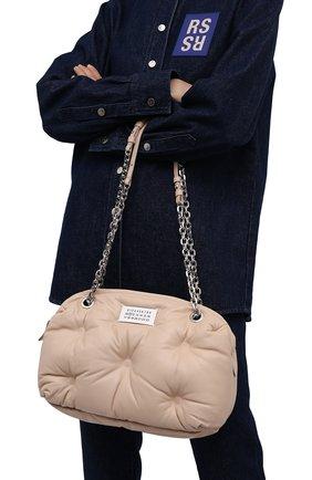 Женская сумка glam slam MAISON MARGIELA бежевого цвета, арт. S56WG0182/P4300 | Фото 2 (Ремень/цепочка: На ремешке; Размер: medium; Материал: Натуральная кожа; Сумки-технические: Сумки через плечо)