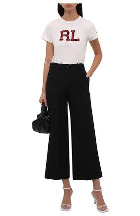 Женская хлопковая футболка POLO RALPH LAUREN кремвого цвета, арт. 211846856 | Фото 2 (Материал внешний: Хлопок; Длина (для топов): Стандартные; Рукава: Короткие; Женское Кросс-КТ: Футболка-одежда; Принт: С принтом; Стили: Кэжуэл)
