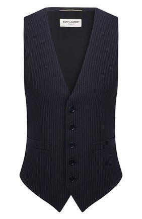 Женский шерстяной жилет SAINT LAURENT темно-синего цвета, арт. 661352/Y3D43   Фото 1 (Материал подклада: Шелк; Материал внешний: Шерсть; Длина (верхняя одежда): Короткие; Стили: Кэжуэл)