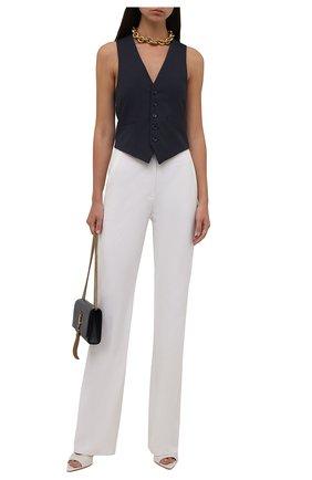 Женский шерстяной жилет SAINT LAURENT темно-синего цвета, арт. 661352/Y3D43 | Фото 2 (Материал подклада: Шелк; Материал внешний: Шерсть; Длина (верхняя одежда): Короткие; Стили: Кэжуэл)
