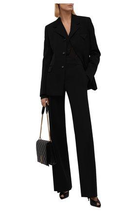 Женские брюки CHLOÉ черного цвета, арт. CHC21WPA06068   Фото 2 (Материал внешний: Шерсть; Длина (брюки, джинсы): Удлиненные; Женское Кросс-КТ: Брюки-одежда; Силуэт Ж (брюки и джинсы): Расклешенные; Стили: Кэжуэл; Случай: Формальный)