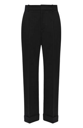 Женские шерстяные брюки CHLOÉ черного цвета, арт. CHC21WPA18068   Фото 1 (Длина (брюки, джинсы): Стандартные; Материал внешний: Шерсть; Силуэт Ж (брюки и джинсы): Прямые; Стили: Кэжуэл)