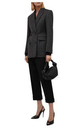 Женские шерстяные брюки CHLOÉ черного цвета, арт. CHC21WPA18068   Фото 2 (Длина (брюки, джинсы): Стандартные; Материал внешний: Шерсть; Силуэт Ж (брюки и джинсы): Прямые; Стили: Кэжуэл)