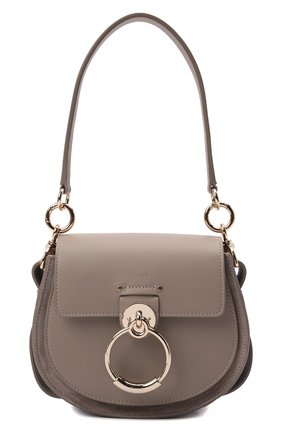 Женская сумка tess small CHLOÉ серого цвета, арт. CHC21WS153F27   Фото 1 (Размер: small; Материал: Натуральная кожа; Ремень/цепочка: На ремешке; Сумки-технические: Сумки top-handle, Сумки через плечо)