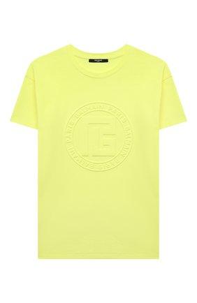 Детская хлопковая футболка BALMAIN желтого цвета, арт. 6P8571   Фото 1 (Материал внешний: Хлопок; Рукава: Короткие)