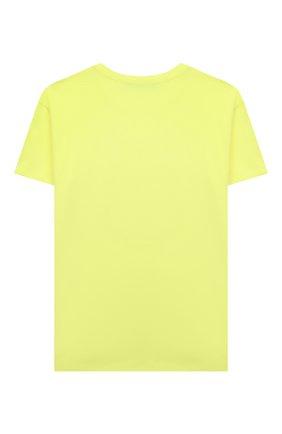 Детская хлопковая футболка BALMAIN желтого цвета, арт. 6P8571   Фото 2 (Материал внешний: Хлопок; Рукава: Короткие)