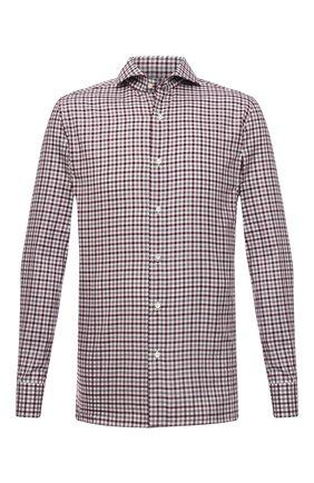 Мужская хлопковая рубашка LUIGI BORRELLI бордового цвета, арт. SR10155/FELICE/ST/EV1/PC   Фото 1 (Рукава: Длинные; Материал внешний: Хлопок; Длина (для топов): Стандартные; Случай: Повседневный; Принт: Клетка; Стили: Кэжуэл; Рубашки М: Super Slim Fit; Манжеты: На пуговицах; Воротник: Акула)