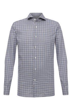 Мужская хлопковая рубашка LUIGI BORRELLI синего цвета, арт. SR10155/FELICE/ST/EV1/PC | Фото 1 (Длина (для топов): Стандартные; Материал внешний: Хлопок; Рукава: Длинные; Случай: Повседневный; Принт: Клетка; Стили: Кэжуэл; Рубашки М: Super Slim Fit; Манжеты: На пуговицах; Воротник: Акула)