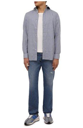 Мужская хлопковая рубашка LUIGI BORRELLI синего цвета, арт. SR10155/FELICE/ST/EV1/PC | Фото 2 (Длина (для топов): Стандартные; Материал внешний: Хлопок; Рукава: Длинные; Случай: Повседневный; Принт: Клетка; Стили: Кэжуэл; Рубашки М: Super Slim Fit; Манжеты: На пуговицах; Воротник: Акула)