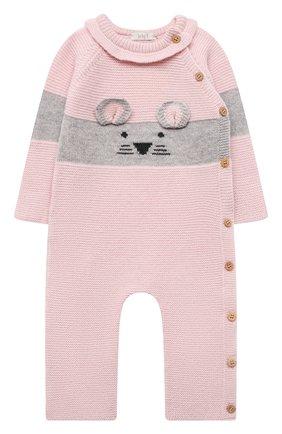 Детский шерстяной комбинезон BABY T розового цвета, арт. 21AI151T/18M-3A | Фото 1 (Рукава: Длинные; Материал внешний: Шерсть)