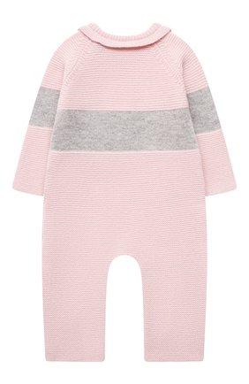 Детский шерстяной комбинезон BABY T розового цвета, арт. 21AI151T/18M-3A | Фото 2 (Рукава: Длинные; Материал внешний: Шерсть)