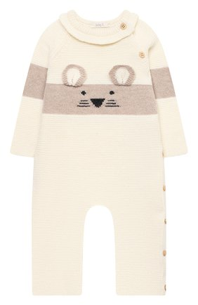 Детский шерстяной комбинезон BABY T белого цвета, арт. 21AI151T/18M-3A | Фото 1 (Рукава: Длинные; Материал внешний: Шерсть)