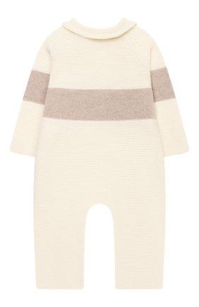 Детский шерстяной комбинезон BABY T белого цвета, арт. 21AI151T/18M-3A | Фото 2 (Рукава: Длинные; Материал внешний: Шерсть)