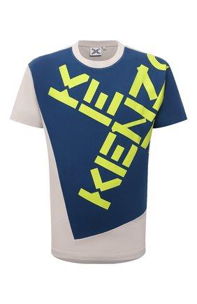 Мужская хлопковая футболка kenzo sport KENZO синего цвета, арт. FB65TS0314SK   Фото 1 (Материал внешний: Хлопок; Принт: С принтом; Рукава: Короткие; Стили: Спорт-шик; Длина (для топов): Стандартные)