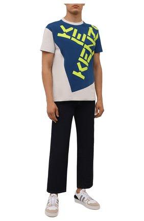 Мужская хлопковая футболка kenzo sport KENZO синего цвета, арт. FB65TS0314SK   Фото 2 (Материал внешний: Хлопок; Принт: С принтом; Рукава: Короткие; Стили: Спорт-шик; Длина (для топов): Стандартные)
