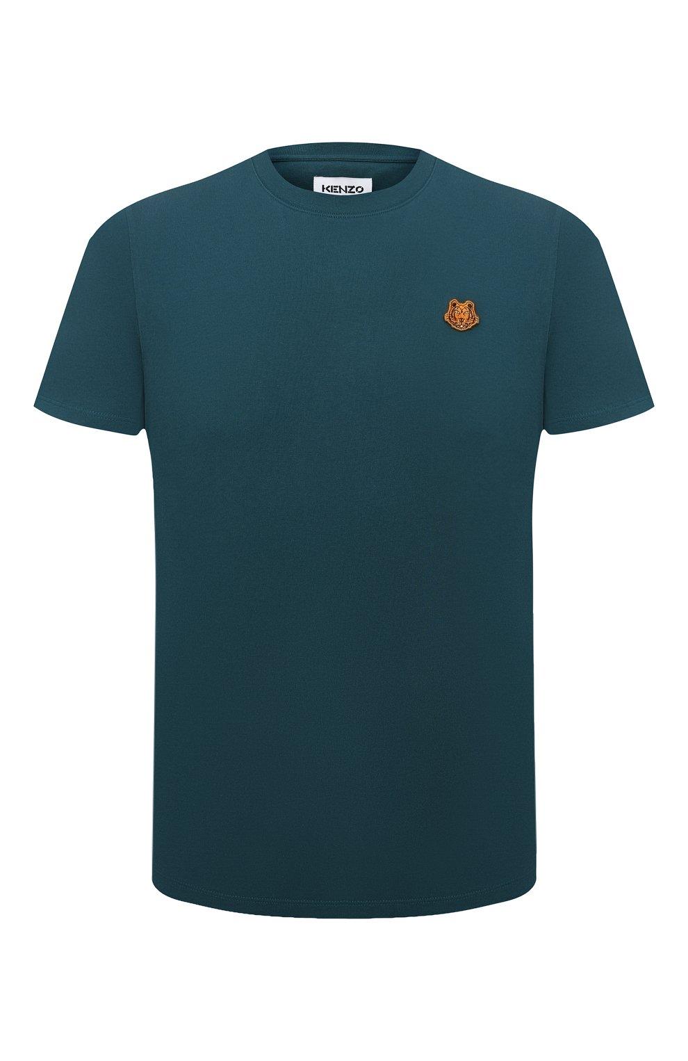 Мужская хлопковая футболка KENZO бирюзового цвета, арт. FB55TS0034SA | Фото 1 (Принт: Без принта; Рукава: Короткие; Длина (для топов): Стандартные; Материал внешний: Хлопок; Стили: Кэжуэл)