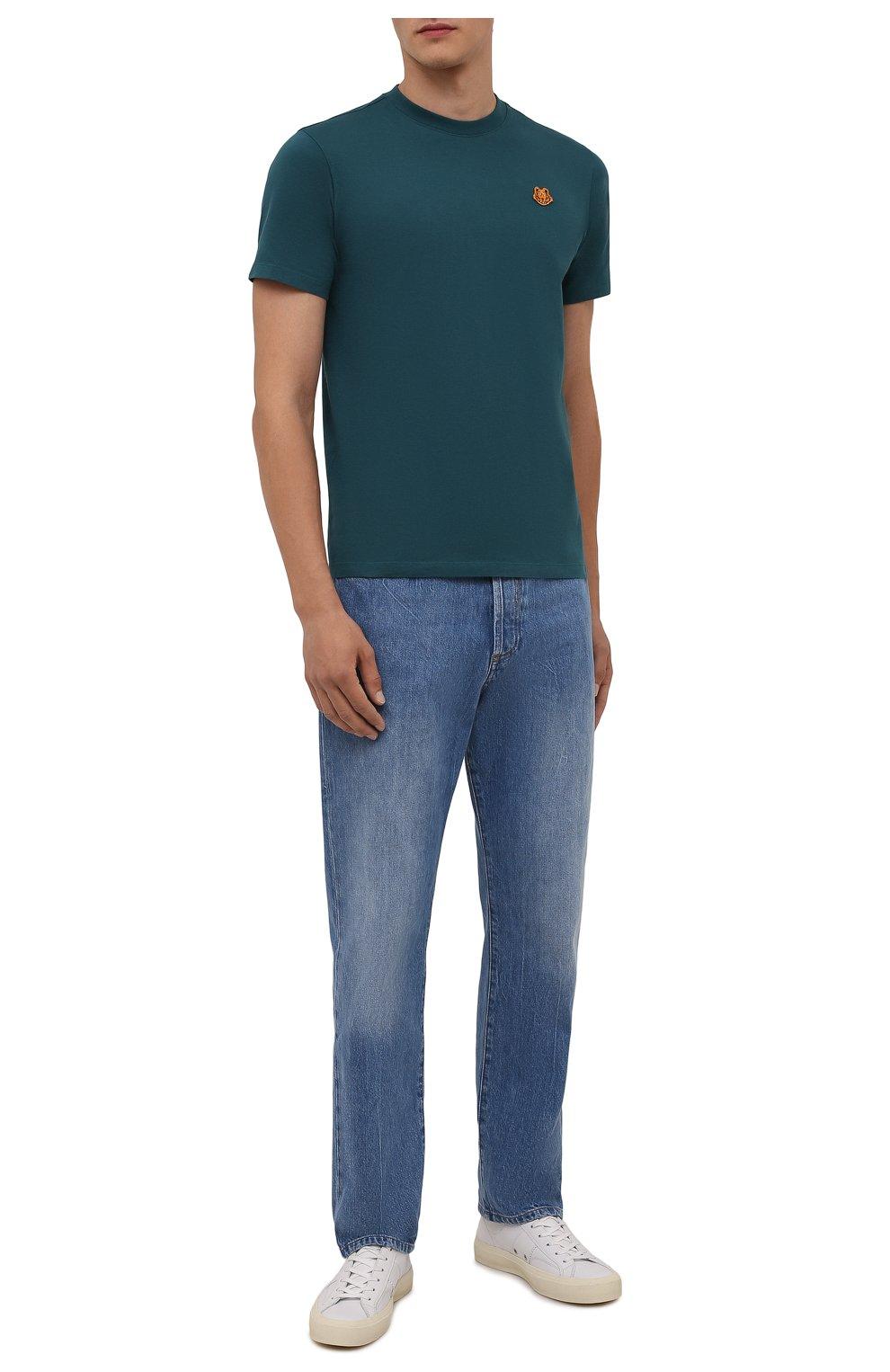 Мужская хлопковая футболка KENZO бирюзового цвета, арт. FB55TS0034SA | Фото 2 (Принт: Без принта; Рукава: Короткие; Длина (для топов): Стандартные; Материал внешний: Хлопок; Стили: Кэжуэл)