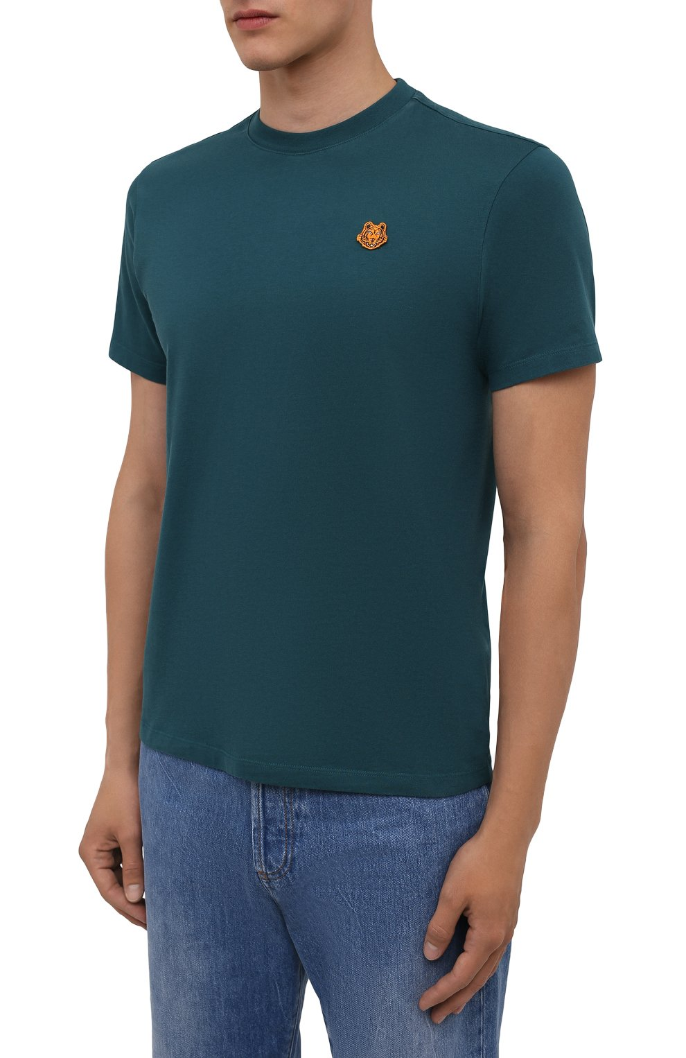 Мужская хлопковая футболка KENZO бирюзового цвета, арт. FB55TS0034SA | Фото 3 (Принт: Без принта; Рукава: Короткие; Длина (для топов): Стандартные; Материал внешний: Хлопок; Стили: Кэжуэл)