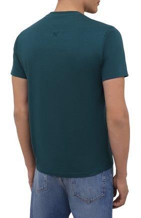 Мужская хлопковая футболка KENZO бирюзового цвета, арт. FB55TS0034SA | Фото 4 (Принт: Без принта; Рукава: Короткие; Длина (для топов): Стандартные; Материал внешний: Хлопок; Стили: Кэжуэл)