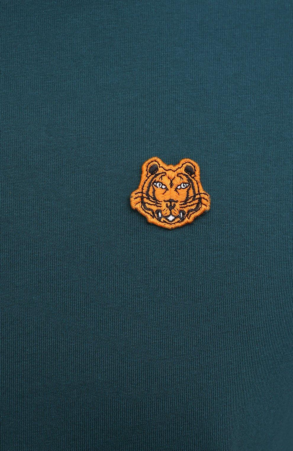 Мужская хлопковая футболка KENZO бирюзового цвета, арт. FB55TS0034SA | Фото 5 (Принт: Без принта; Рукава: Короткие; Длина (для топов): Стандартные; Материал внешний: Хлопок; Стили: Кэжуэл)