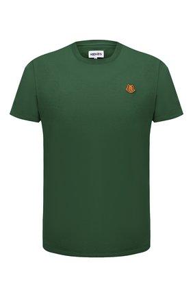 Мужская хлопковая футболка KENZO зеленого цвета, арт. FB55TS0034SA | Фото 1 (Материал внешний: Хлопок; Принт: Без принта; Рукава: Короткие; Стили: Кэжуэл; Длина (для топов): Стандартные)