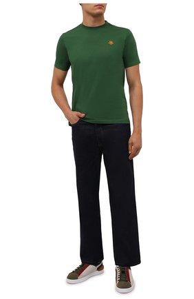 Мужская хлопковая футболка KENZO зеленого цвета, арт. FB55TS0034SA | Фото 2 (Материал внешний: Хлопок; Принт: Без принта; Рукава: Короткие; Стили: Кэжуэл; Длина (для топов): Стандартные)