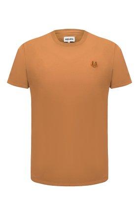 Мужская хлопковая футболка KENZO оранжевого цвета, арт. FB55TS0034SA | Фото 1 (Материал внешний: Хлопок; Принт: Без принта; Рукава: Короткие; Стили: Кэжуэл; Длина (для топов): Стандартные)