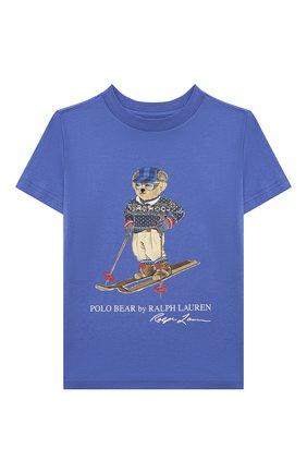 Детская хлопковая футболка POLO RALPH LAUREN голубого цвета, арт. 321853790   Фото 1 (Материал внешний: Хлопок; Рукава: Короткие)