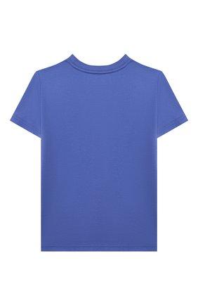Детская хлопковая футболка POLO RALPH LAUREN голубого цвета, арт. 321853790   Фото 2 (Материал внешний: Хлопок; Рукава: Короткие)