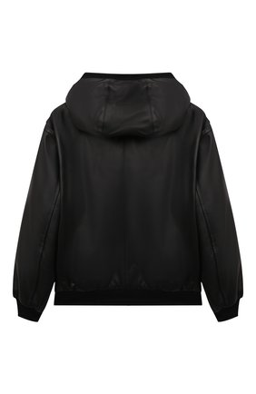 Детского кожаная куртка DOLCE & GABBANA черного цвета, арт. L42B25/G7A6B/8-14   Фото 2 (Рукава: Длинные; Материал подклада: Вискоза; Кросс-КТ: Сезон: демисезон)