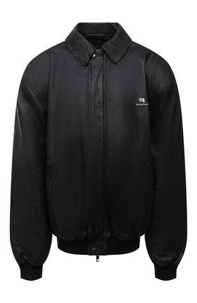 Женская кожаная куртка BALENCIAGA черного цвета, арт. 674318/TLS01   Фото 1 (Рукава: Длинные; Длина (верхняя одежда): До середины бедра; Материал подклада: Купро; Кросс-КТ: Куртка; Женское Кросс-КТ: Замша и кожа)