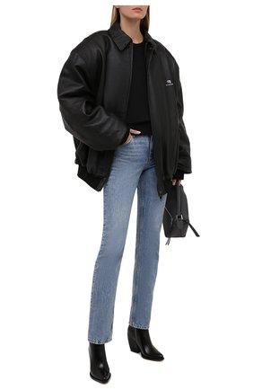 Женская кожаная куртка BALENCIAGA черного цвета, арт. 674318/TLS01   Фото 2 (Рукава: Длинные; Длина (верхняя одежда): До середины бедра; Материал подклада: Купро; Кросс-КТ: Куртка; Женское Кросс-КТ: Замша и кожа)