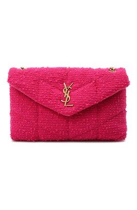 Женская сумка puffer mini SAINT LAURENT фуксия цвета, арт. 620333/2RL27 | Фото 1 (Размер: mini; Ремень/цепочка: На ремешке; Материал: Текстиль; Сумки-технические: Сумки через плечо)