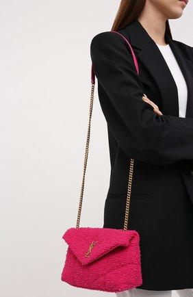 Женская сумка puffer mini SAINT LAURENT фуксия цвета, арт. 620333/2RL27 | Фото 2 (Размер: mini; Ремень/цепочка: На ремешке; Материал: Текстиль; Сумки-технические: Сумки через плечо)