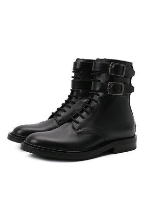 Женские кожаные ботинки SAINT LAURENT черного цвета, арт. 584699/00ENN | Фото 1 (Материал внутренний: Натуральная кожа; Подошва: Платформа; Каблук высота: Низкий; Женское Кросс-КТ: Военные ботинки)