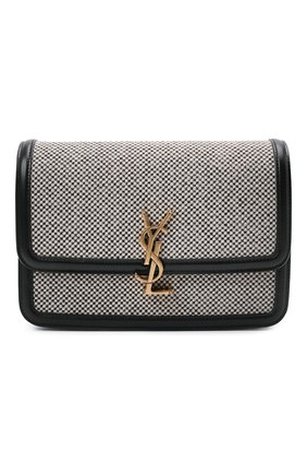 Женская сумка solferino ysl lock SAINT LAURENT черно-белого цвета, арт. 634305/25E1W | Фото 1 (Размер: small; Материал: Текстиль; Сумки-технические: Сумки через плечо)
