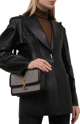 Женская сумка solferino ysl lock SAINT LAURENT черно-белого цвета, арт. 634305/25E1W | Фото 2 (Размер: small; Материал: Текстиль; Сумки-технические: Сумки через плечо)