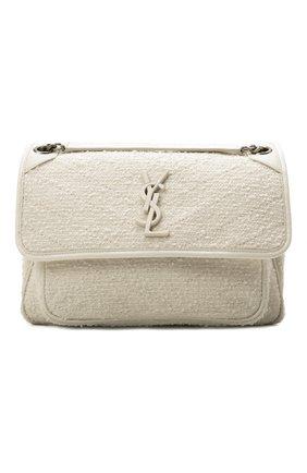 Женская сумка niki medium SAINT LAURENT белого цвета, арт. 633158/2RL46 | Фото 1 (Ремень/цепочка: На ремешке; Материал: Текстиль; Размер: medium; Сумки-технические: Сумки через плечо, Сумки top-handle)