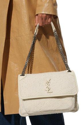 Женская сумка niki medium SAINT LAURENT белого цвета, арт. 633158/2RL46 | Фото 2 (Ремень/цепочка: На ремешке; Материал: Текстиль; Размер: medium; Сумки-технические: Сумки через плечо, Сумки top-handle)