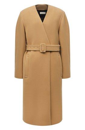 Женское шерстяное пальто DRIES VAN NOTEN бежевого цвета, арт. 212-010280-3271 | Фото 1 (Рукава: Длинные; Материал внешний: Шерсть; Материал подклада: Хлопок; Длина (верхняя одежда): До колена; 1-2-бортные: Однобортные; Стили: Кэжуэл)