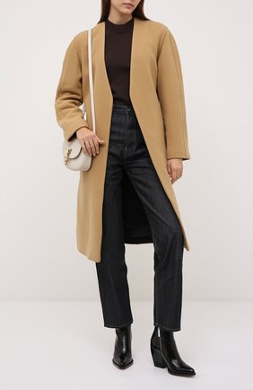 Женское шерстяное пальто DRIES VAN NOTEN бежевого цвета, арт. 212-010280-3271 | Фото 2 (Рукава: Длинные; Материал внешний: Шерсть; Материал подклада: Хлопок; Длина (верхняя одежда): До колена; 1-2-бортные: Однобортные; Стили: Кэжуэл)