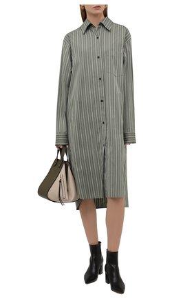 Женское хлопковое платье DRIES VAN NOTEN зеленого цвета, арт. 212-011030-3016 | Фото 2 (Рукава: Длинные; Длина Ж (юбки, платья, шорты): Миди; Материал внешний: Хлопок; Женское Кросс-КТ: Платье-одежда, платье-рубашка; Случай: Повседневный; Стили: Кэжуэл)