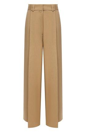 Женские хлопковые брюки DRIES VAN NOTEN бежевого цвета, арт. 212-010964-3187 | Фото 1 (Материал внешний: Хлопок; Длина (брюки, джинсы): Стандартные; Женское Кросс-КТ: Брюки-одежда; Стили: Кэжуэл; Силуэт Ж (брюки и джинсы): Широкие)
