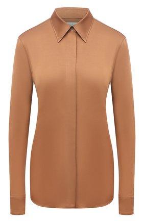 Женская рубашка из вискозы DRIES VAN NOTEN бежевого цвета, арт. 212-010759-3159 | Фото 1 (Рукава: Длинные; Длина (для топов): Стандартные; Материал внешний: Вискоза; Стили: Кэжуэл; Женское Кросс-КТ: Рубашка-одежда; Принт: Без принта)