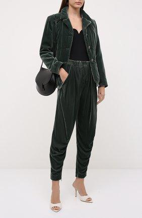 Женские брюки из вискозы и шелка GIORGIO ARMANI зеленого цвета, арт. 1WHPP0IQ/T01FD | Фото 2 (Материал внешний: Вискоза; Длина (брюки, джинсы): Стандартные; Стили: Кэжуэл; Женское Кросс-КТ: Брюки-одежда; Силуэт Ж (брюки и джинсы): Джоггеры)