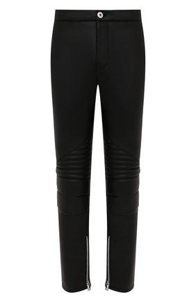 Женские кожаные брюки BOTTEGA VENETA черного цвета, арт. 667266/V15Y0   Фото 1 (Материал подклада: Вискоза; Стили: Гламурный; Женское Кросс-КТ: Брюки-одежда; Силуэт Ж (брюки и джинсы): Узкие; Длина (брюки, джинсы): Стандартные)