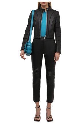 Женские кожаные брюки BOTTEGA VENETA черного цвета, арт. 667266/V15Y0   Фото 2 (Материал подклада: Вискоза; Стили: Гламурный; Женское Кросс-КТ: Брюки-одежда; Силуэт Ж (брюки и джинсы): Узкие; Длина (брюки, джинсы): Стандартные)