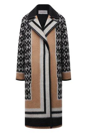 Женское шерстяное пальто VALENTINO бежевого цвета, арт. WB3CA5V56KF | Фото 1 (Рукава: Длинные; Длина (верхняя одежда): Длинные; Материал подклада: Купро; Материал внешний: Шерсть; Стили: Гламурный; 1-2-бортные: Однобортные)