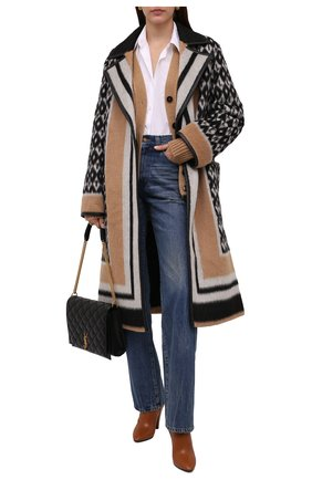 Женское шерстяное пальто VALENTINO бежевого цвета, арт. WB3CA5V56KF | Фото 2 (Рукава: Длинные; Длина (верхняя одежда): Длинные; Материал подклада: Купро; Материал внешний: Шерсть; Стили: Гламурный; 1-2-бортные: Однобортные)